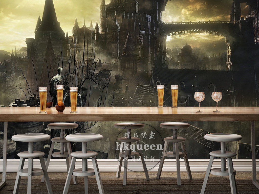 欧式复古建筑大气金属网吧游戏工装背景墙图片