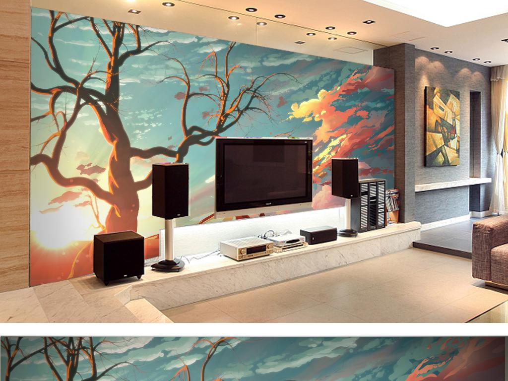 自然风光手绘背景墙水彩客厅卧室壁纸墙纸