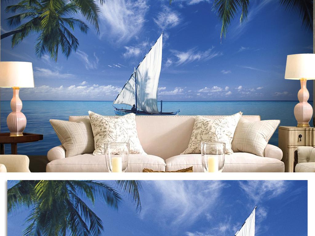 插画温馨唯美挂画无框画现代简约室内设计壁纸时尚帆