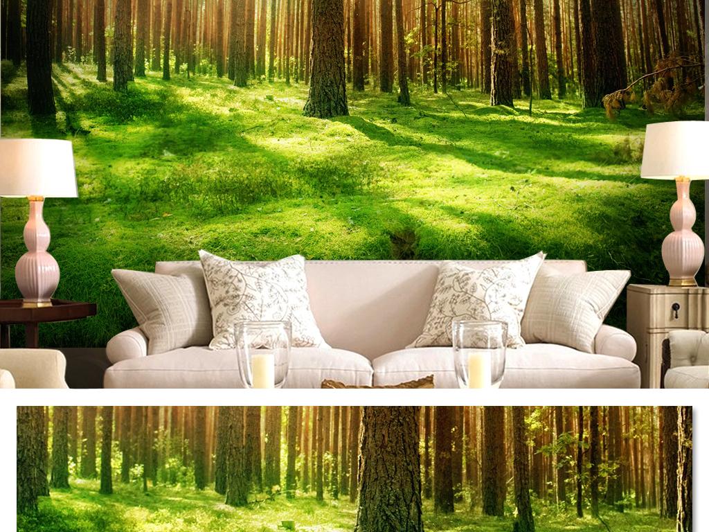 自然风光手绘风景森林背景                                  绿色