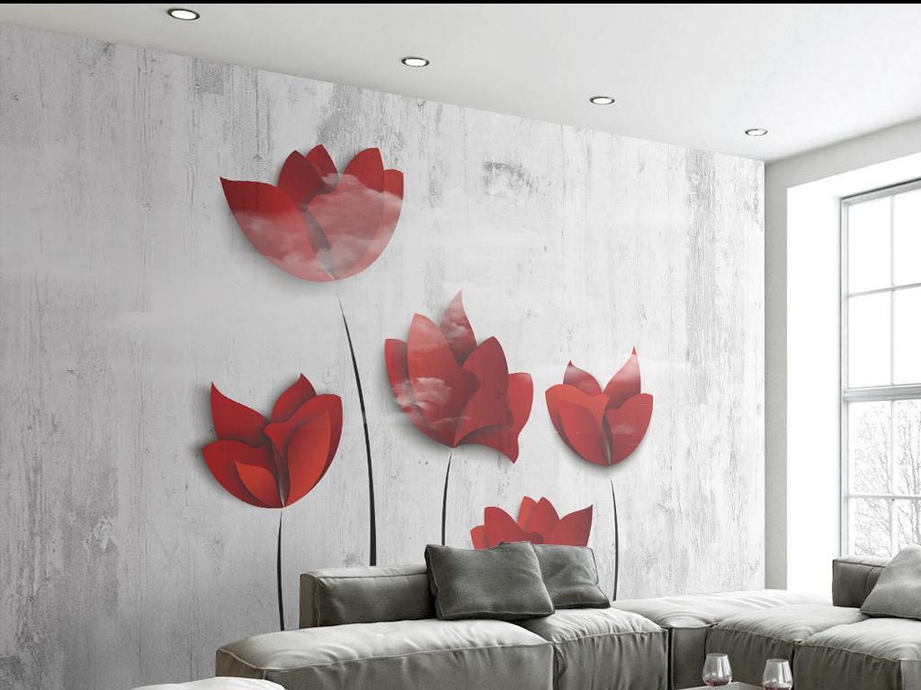 复古手绘花卉背景墙