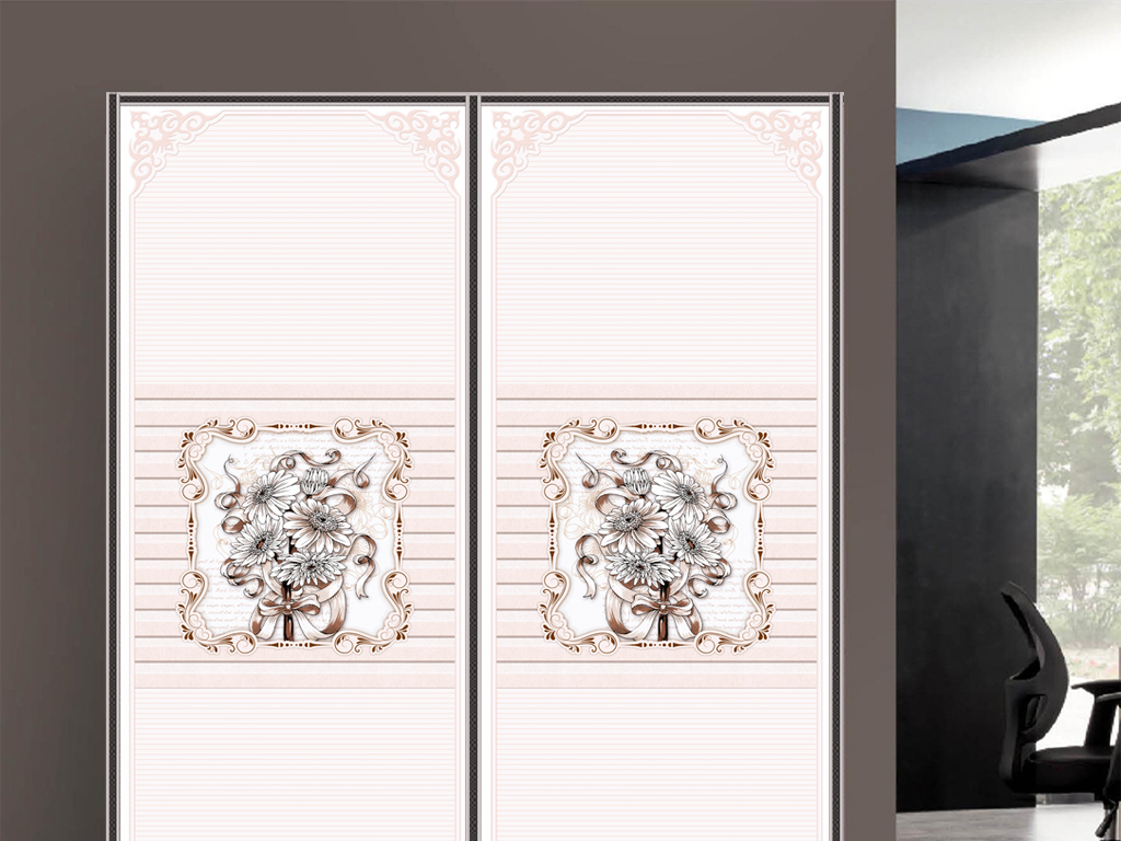 uv打印欧式角花花朵衣柜移门图片背景