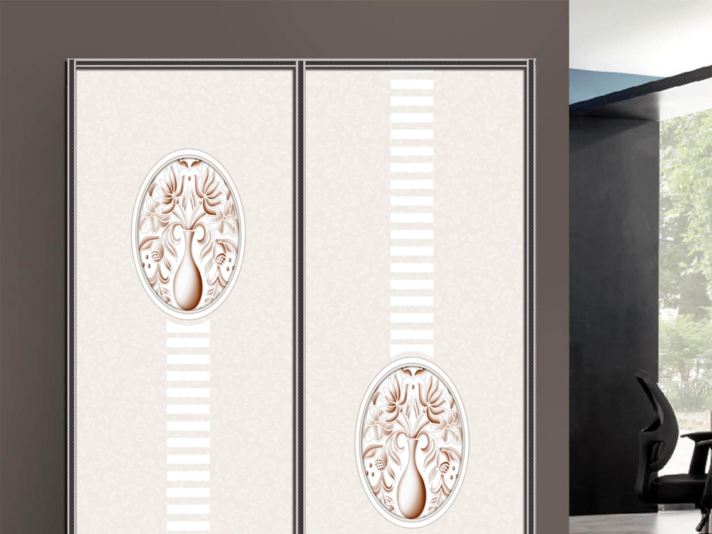 uv打印欧式花纹花瓶衣柜移门图案背景