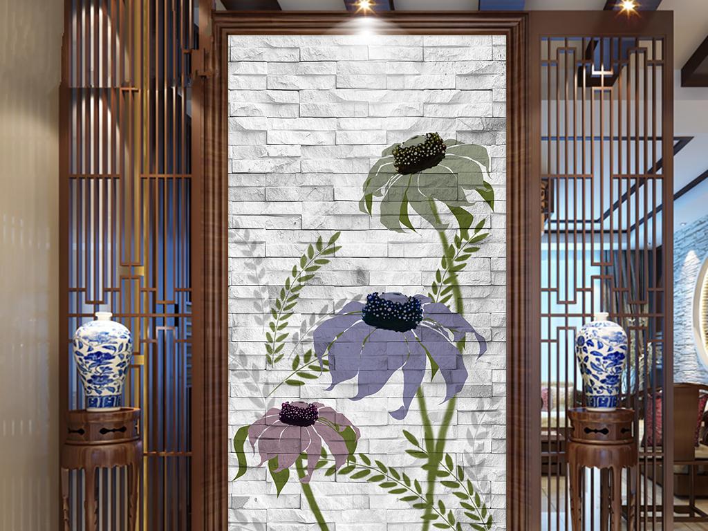 手绘砖墙花卉玄关