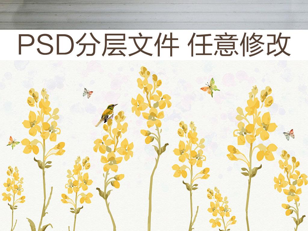北欧简约手绘花朵背景墙