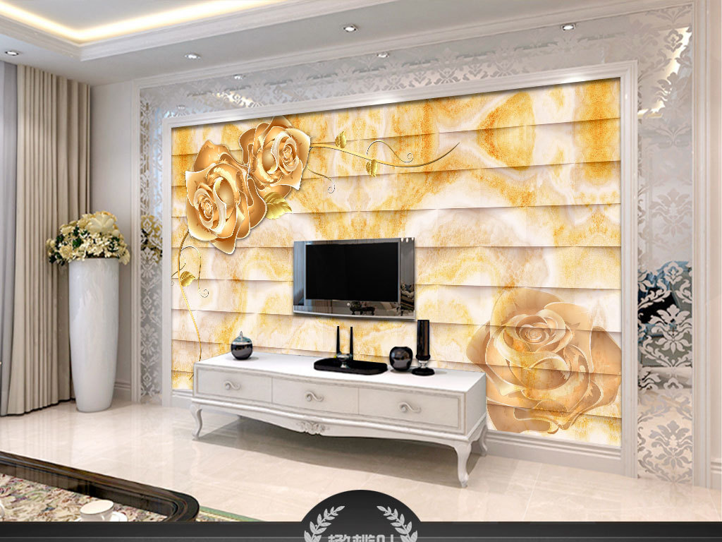 3d立体铂金玫瑰大理石电视背景墙