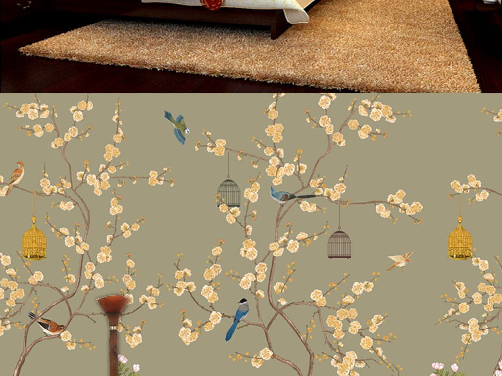 手绘工笔花鸟中式背景墙装饰画壁纸图片
