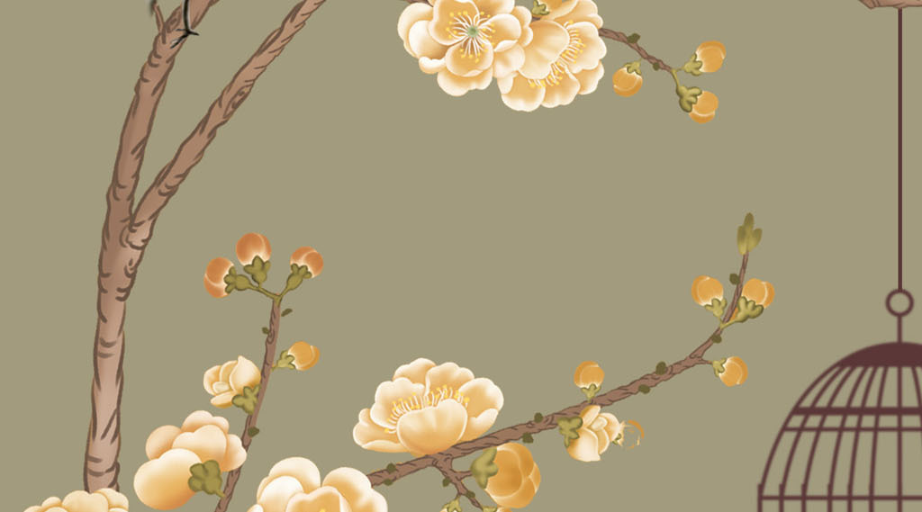 手绘工笔花鸟中式背景墙装饰画壁纸