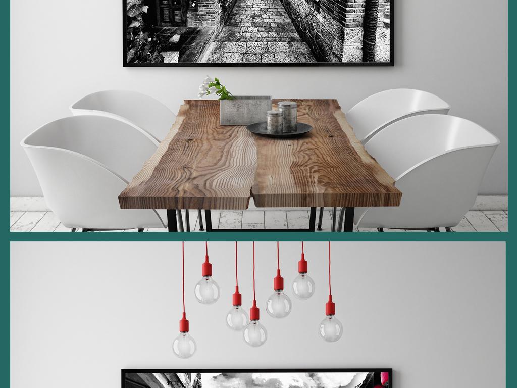 中国风古屋巷子红灯笼无框画装饰画