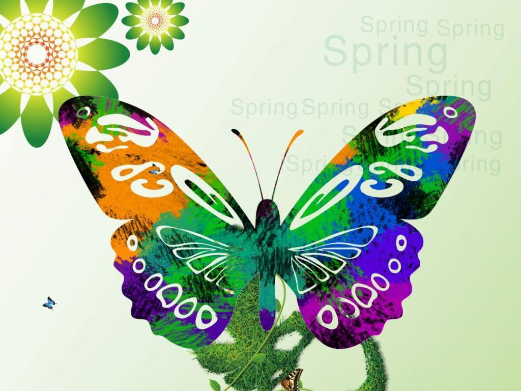 手绘风筝蝴蝶图案设计