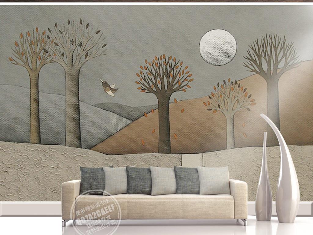 欧式怀旧手绘山丘大树风景油画背景墙