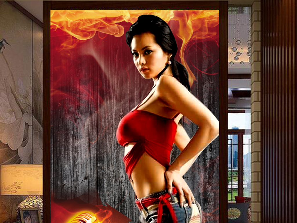 火焰性感美女工装玄关