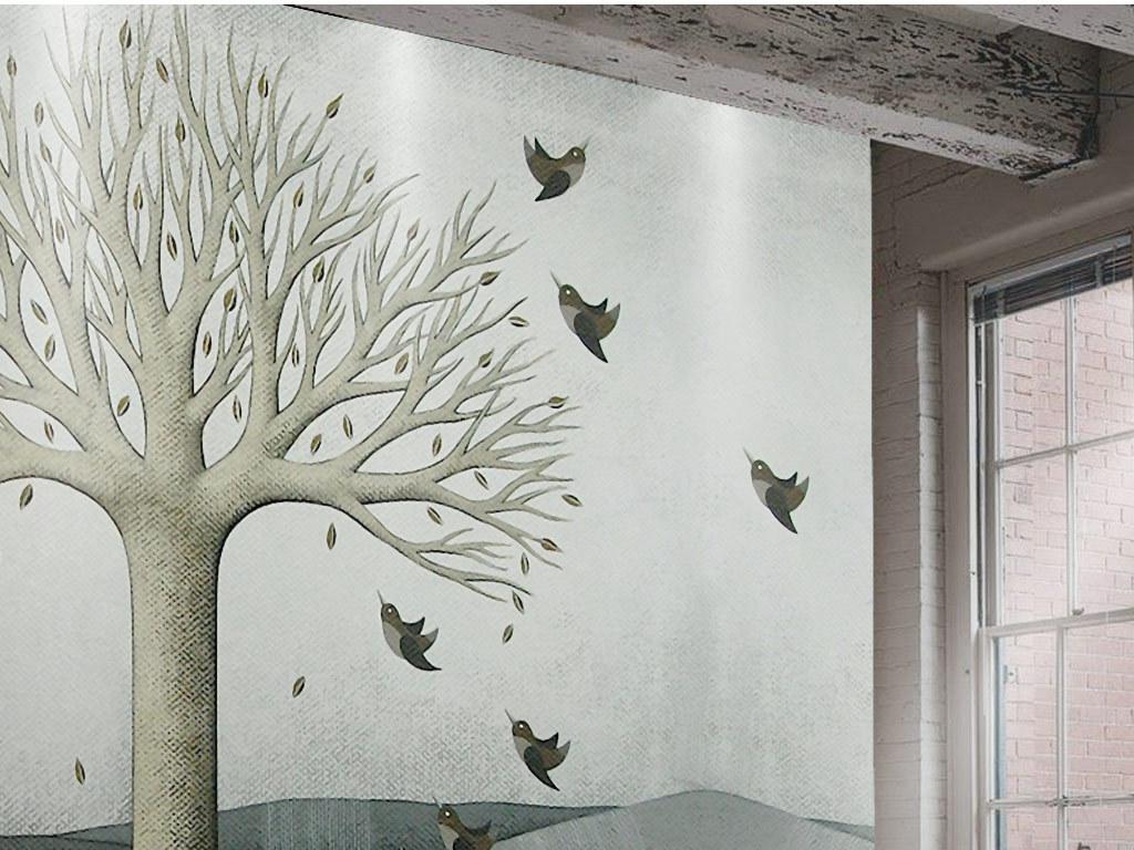 欧式怀旧手绘大树飞鸟风景油画背景墙