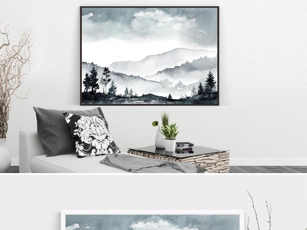 现代田园美式田园文艺新中式黑白画山水画山风景画