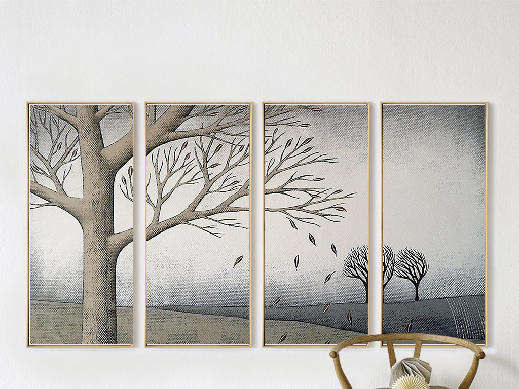 餐厅装饰画手绘风景四联画现代简约小鸟落叶高清油画月亮太阳秋景大树