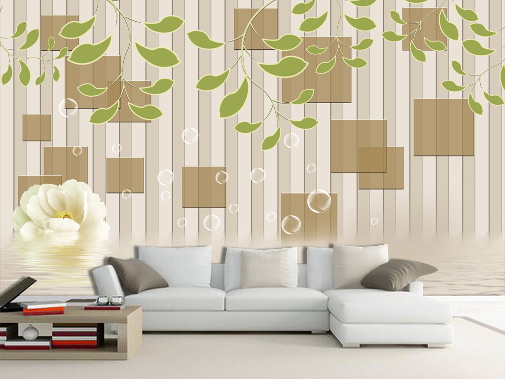 最新3d欧式方块树叶荷花倒影电视背景墙