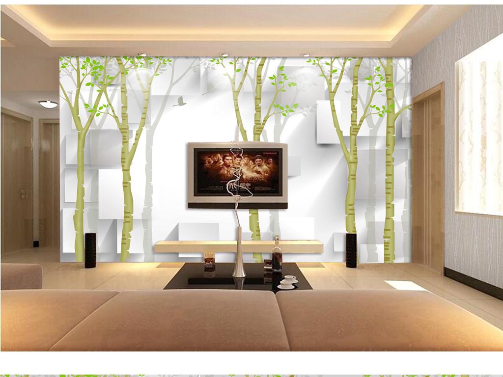 立体方块手绘树林电视背景墙下载