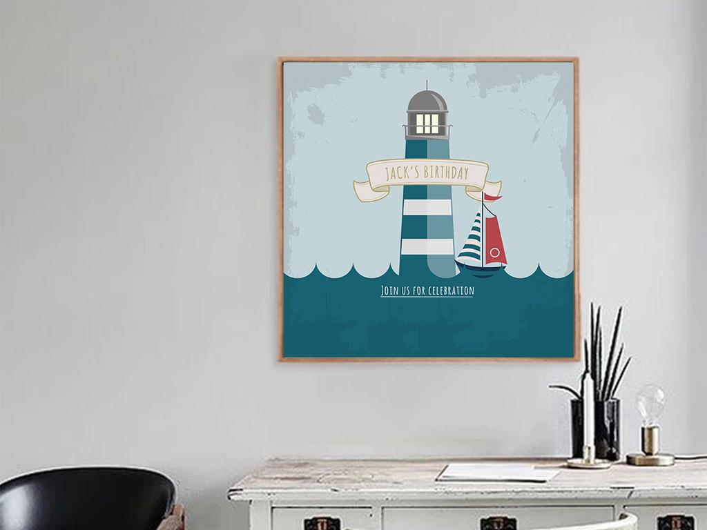 现代可爱卡通地中海小清新无框画