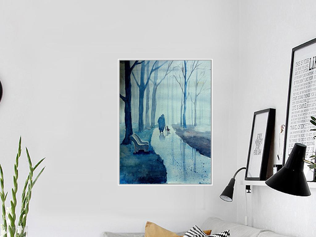 现代简约小清新手绘树林老人与狗水彩无框画