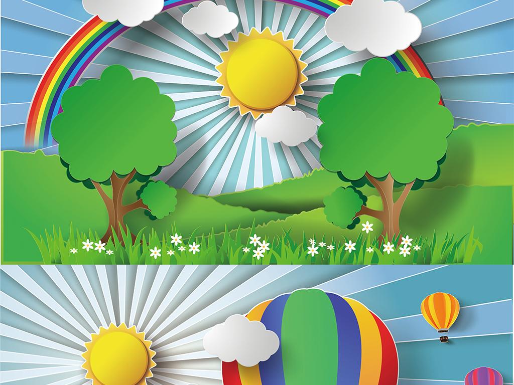 太阳云朵热气球草地儿童乐园幼儿园背景墙图片