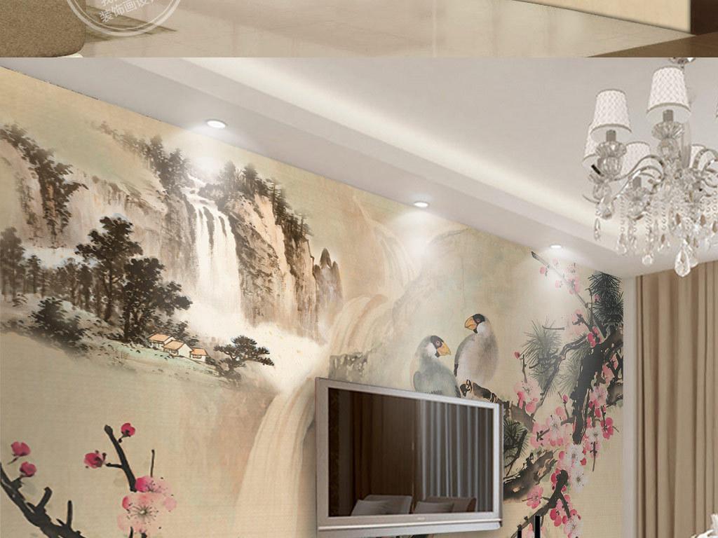 淡雅图库高雅墙纸壁纸水墨客厅卧室书房墙贴新中式中式背景墙中式花鸟图片