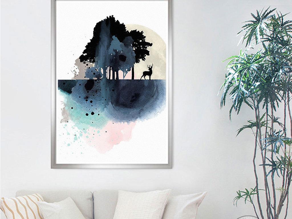 水彩手绘麋鹿图案森林
