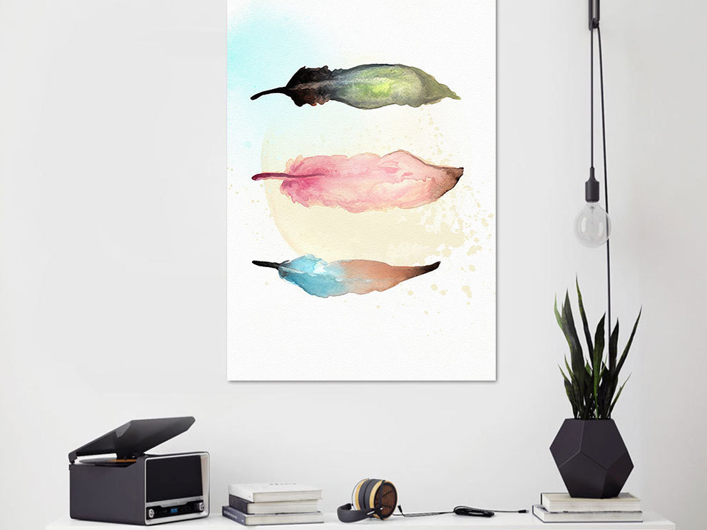 现代简约手绘彩色羽毛无框画
