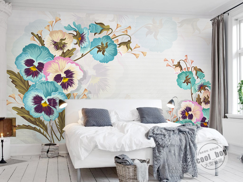 手绘背景墙时尚自然