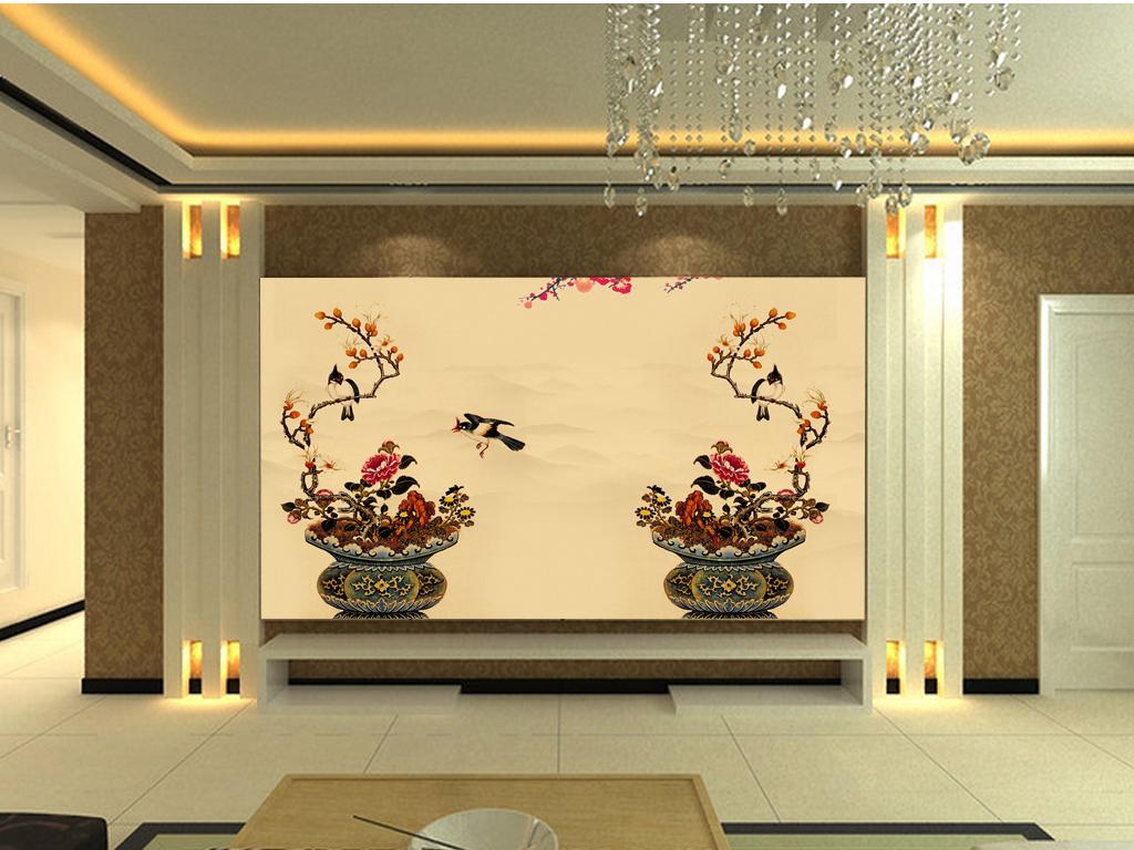 新中式手绘花鸟电视背景墙(图片编号:15843007)
