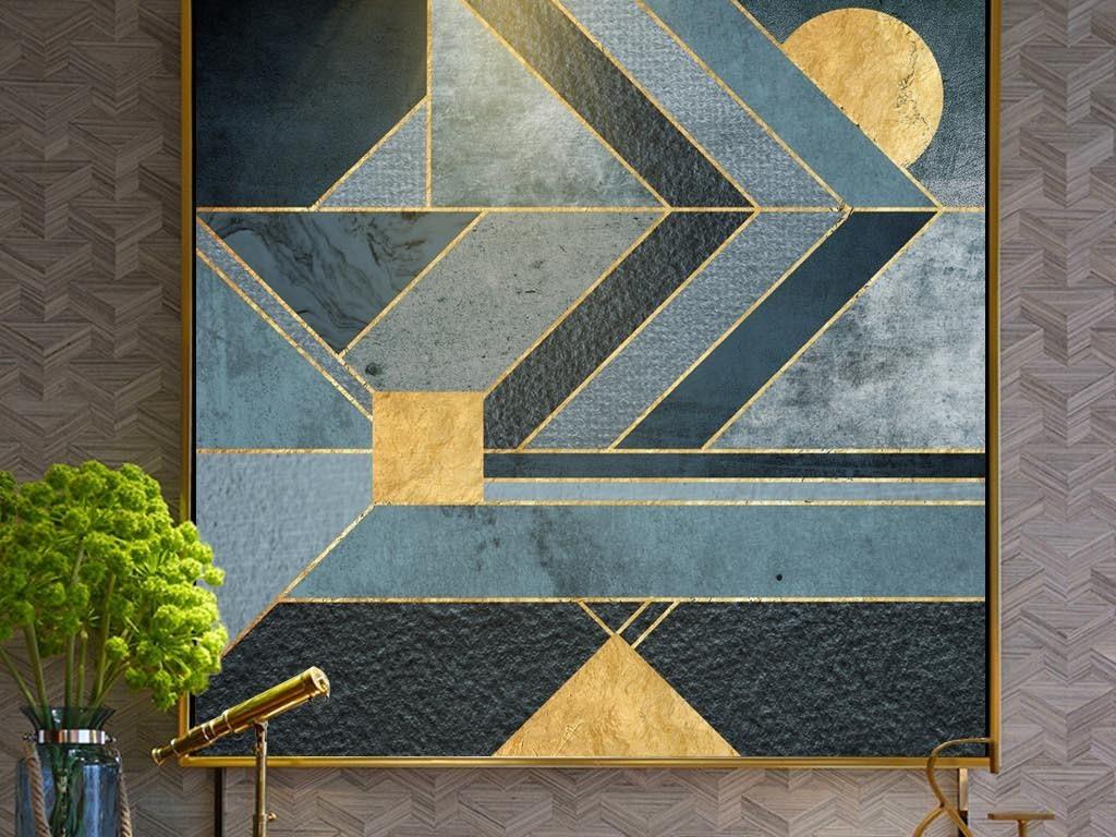 北欧抽象蓝色色块金线酒店装饰画客厅挂画