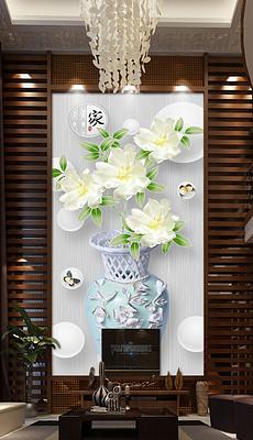 白色清新立体花瓶玄关