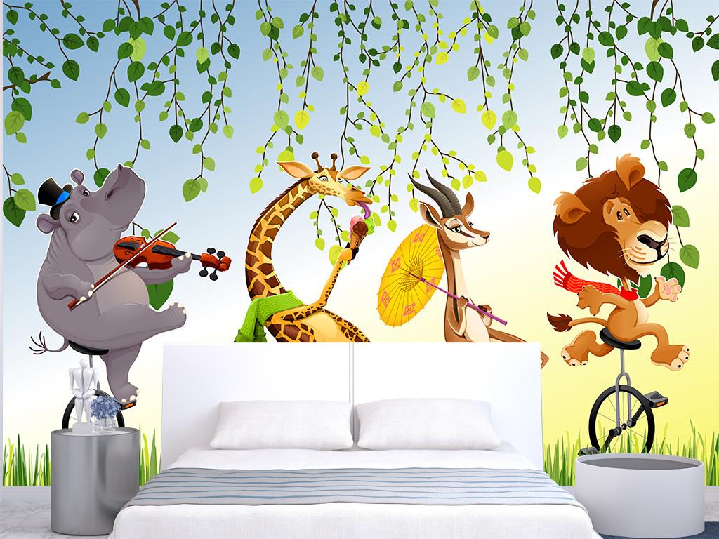 现代时尚卡通动物森林床头背景墙装饰