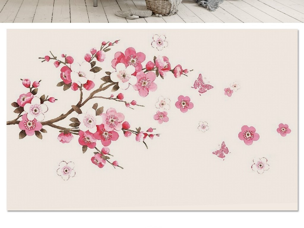 手绘简约抽象树枝粉色梅花蝴蝶电视背景墙