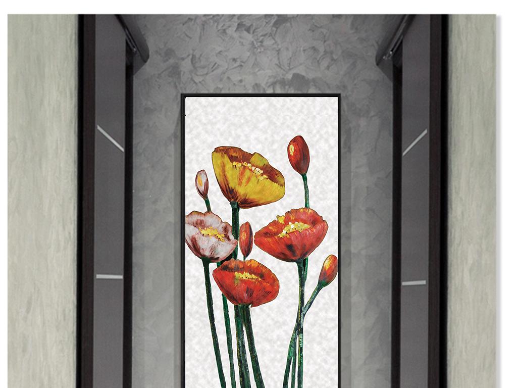 高清欧式古典怀旧红色油画花卉无框画