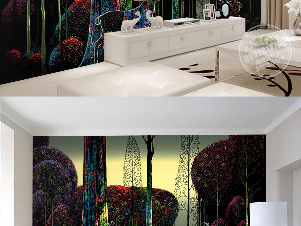 欧式手绘七彩森林麋鹿电视背景墙