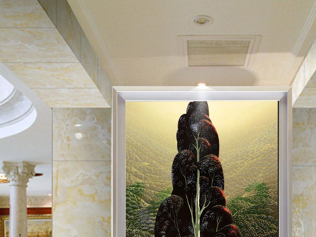 欧式森林阳光大树麋鹿玄关背景墙