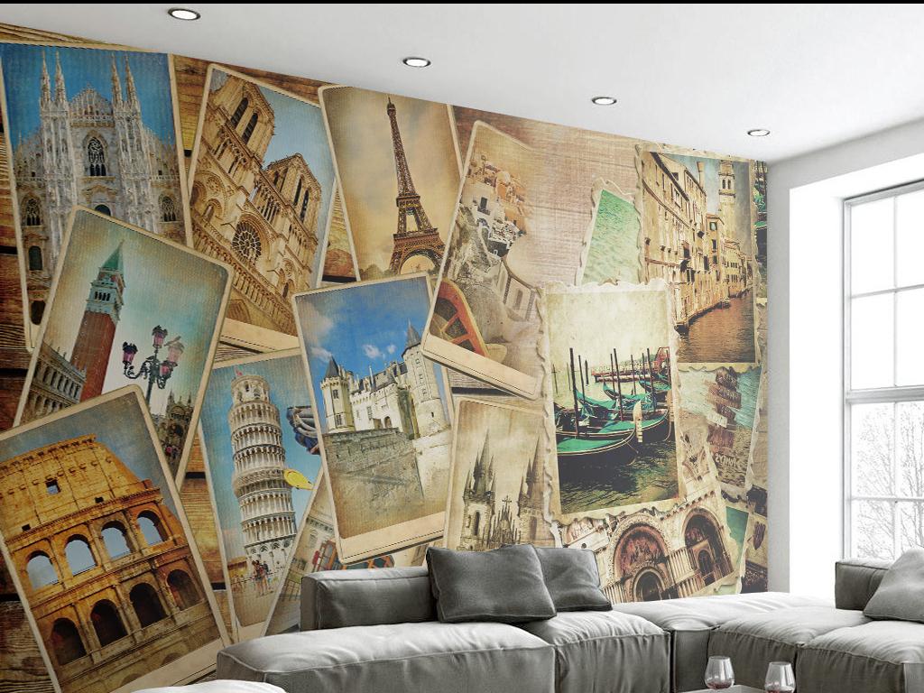图网提供精品流行欧式复古老照片拼接背景墙素材下载