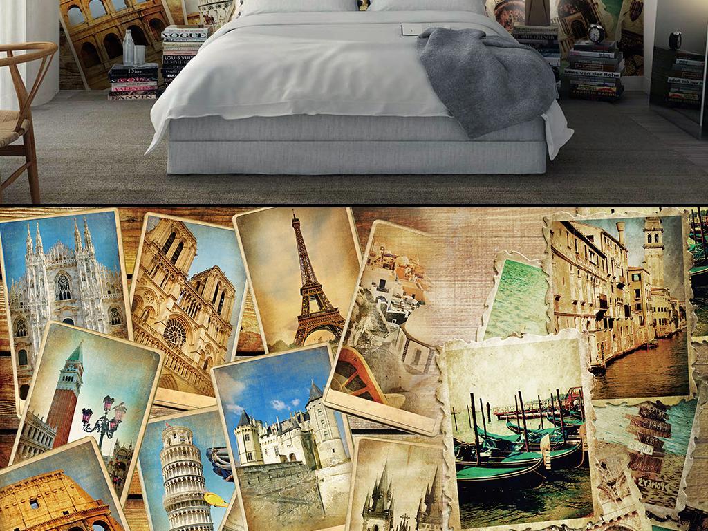 欧式复古老照片拼接背景墙