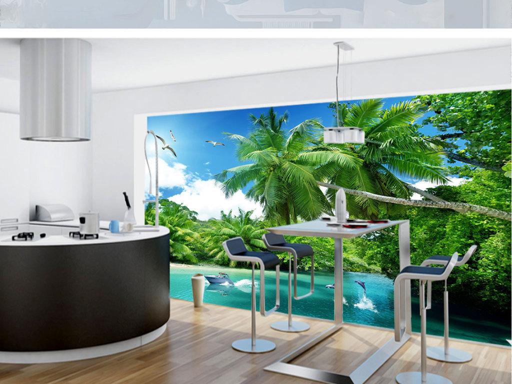 壁纸沙滩椰树电视背景椰树海景电视背景墙图片玻璃