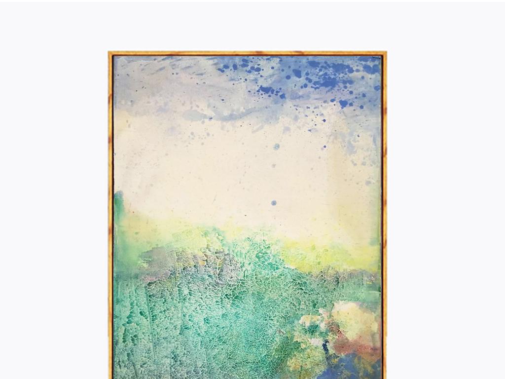 现代简约抽象手绘山水装饰画