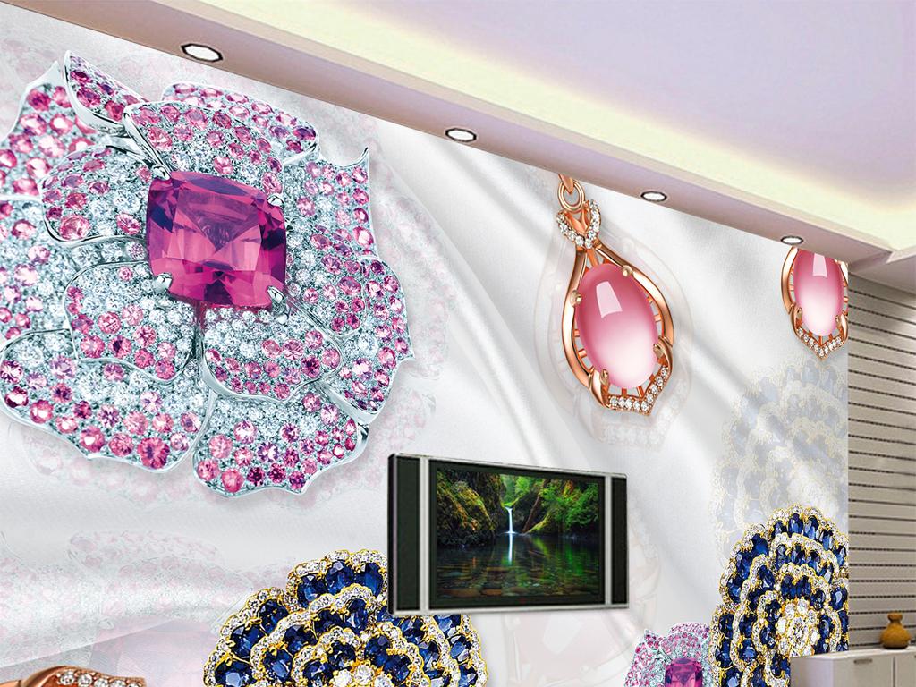3d奢华欧式风格珠宝背景墙设计