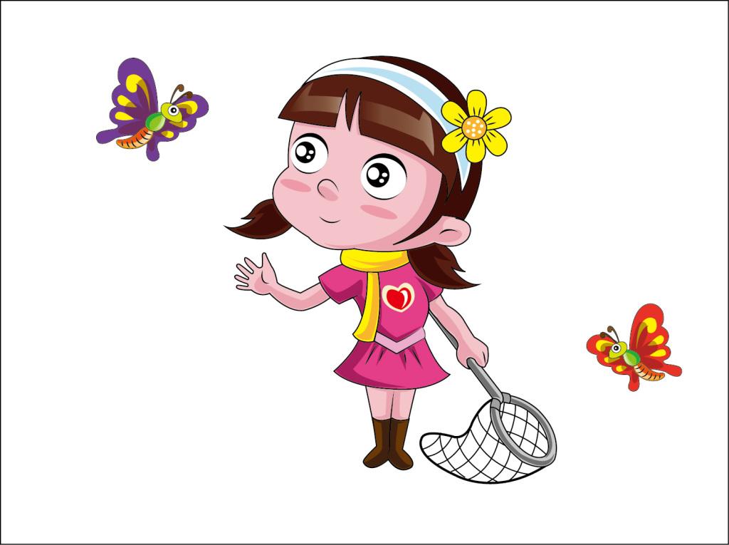 蝴蝶女孩矢量卡通设计