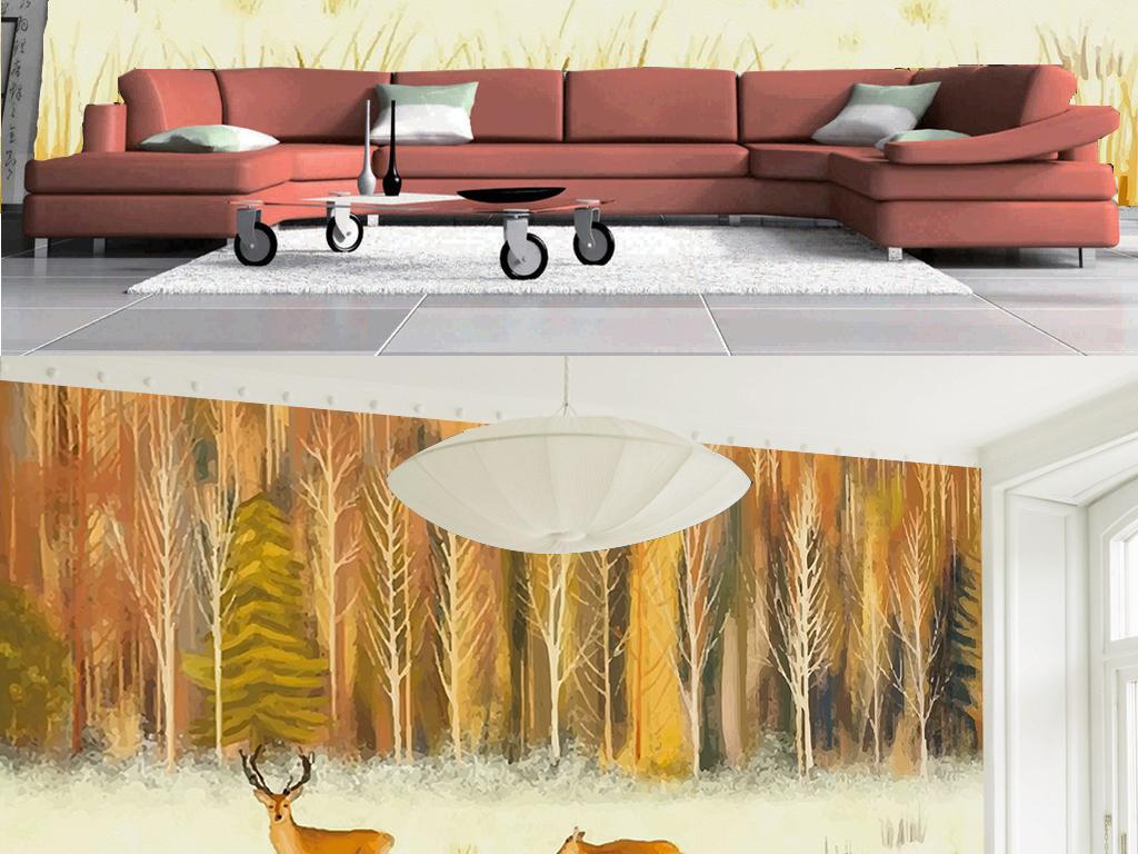 手绘清新森林麋鹿客厅电视背景墙