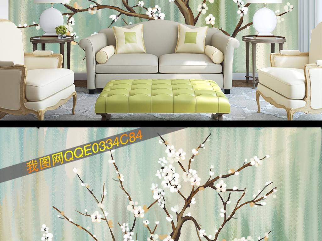 现代简约手绘樱花花树壁纸背景墙
