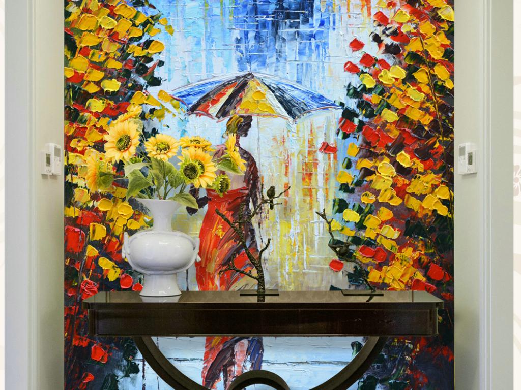 伞下背影立体手绘油画艺术玄关