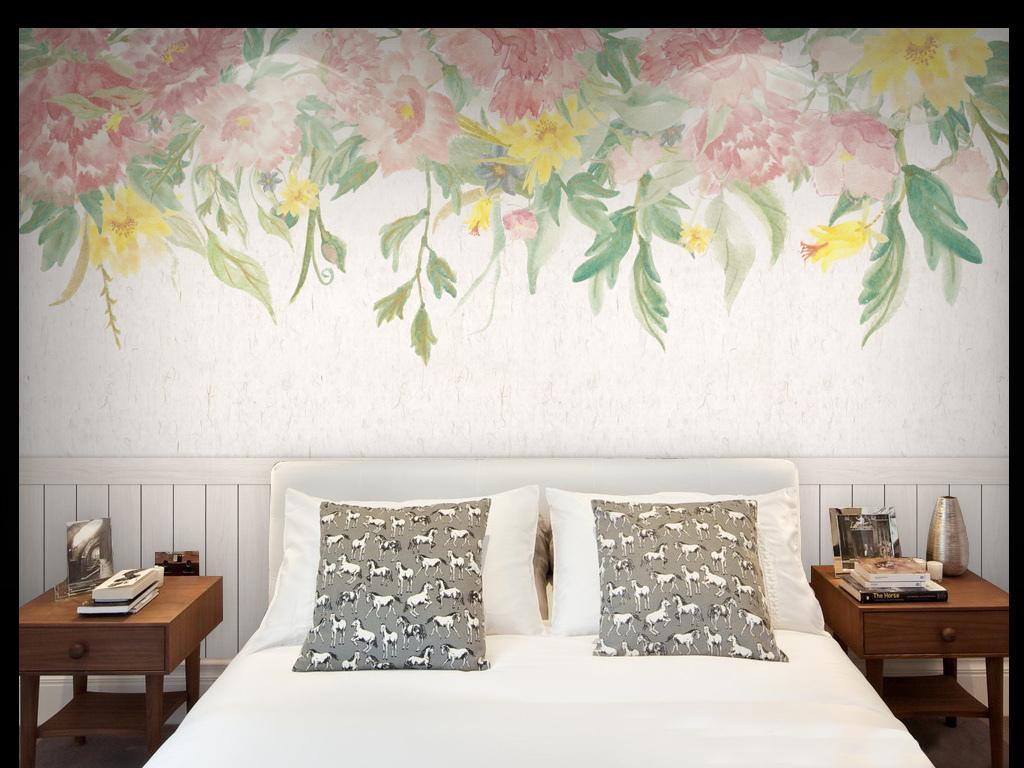 花芍药月季白木板木地板3d大气极简现代简约背景高清
