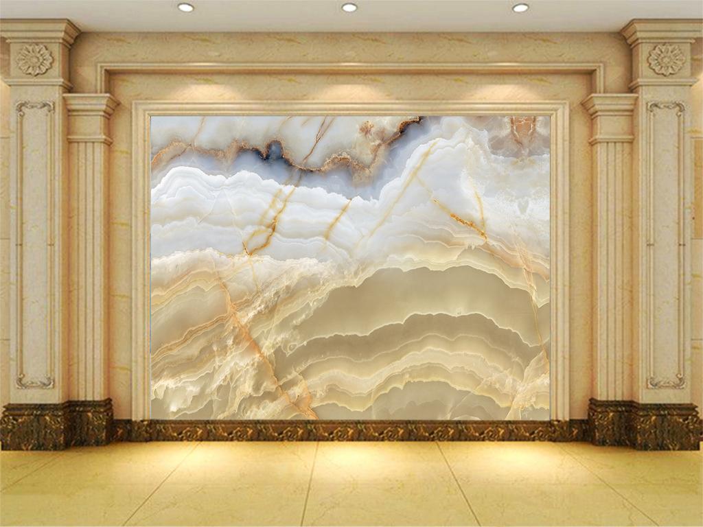 大理石山水情石纹天山背景墙