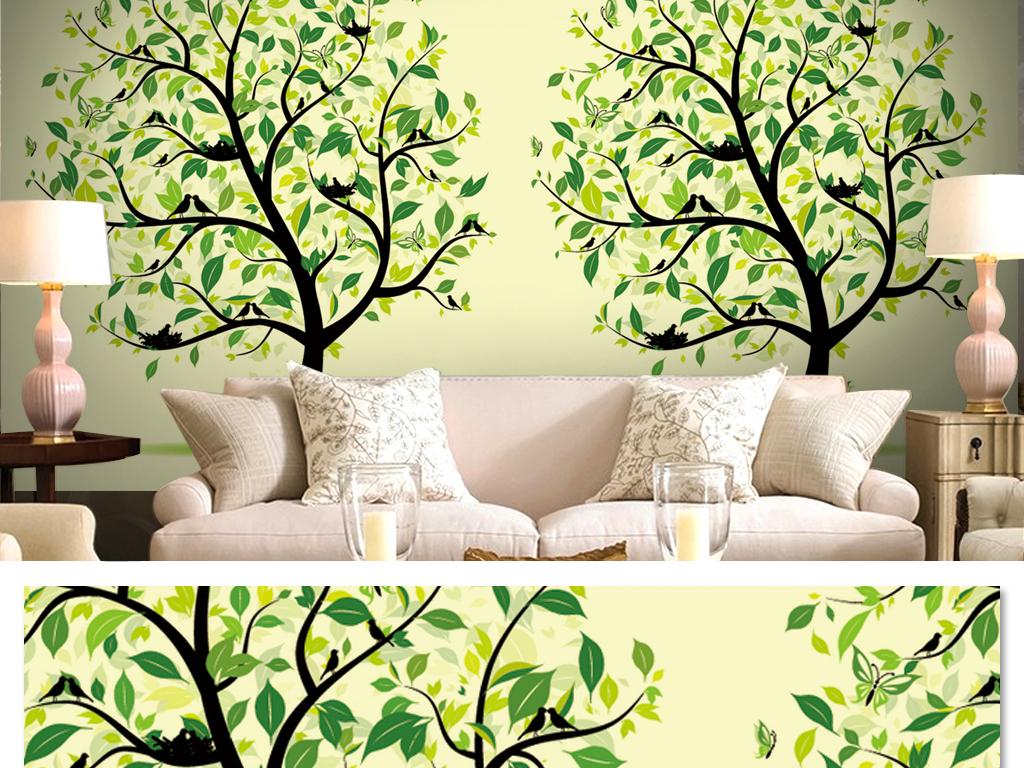小清新室内设计大树背景手绘树木清新