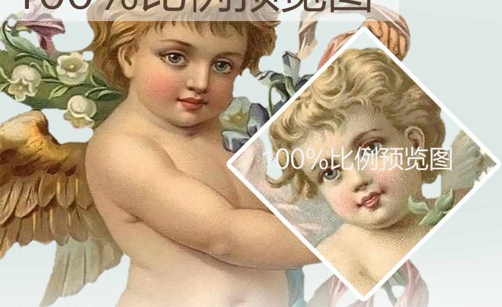 儿童宝贝可爱天使欧美男孩复古浮雕天使浮雕手绘圣女丘比特糖果绿仙气