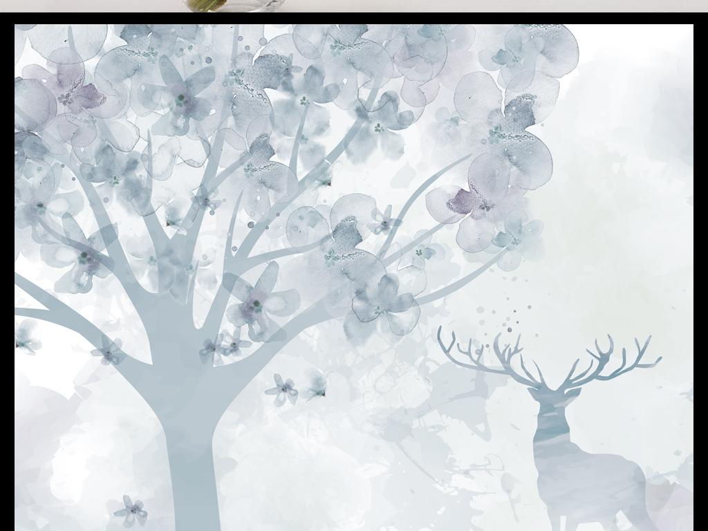 中式森林鹿手绘